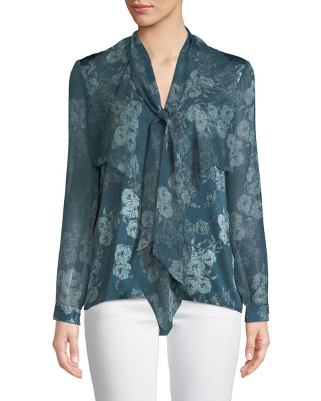 Jurnee Tie-Neck Long-Sleeve Floral-Print Silk Blouse