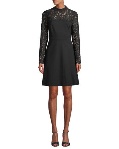 Jenessa Lace-Yoke A-Line Dress