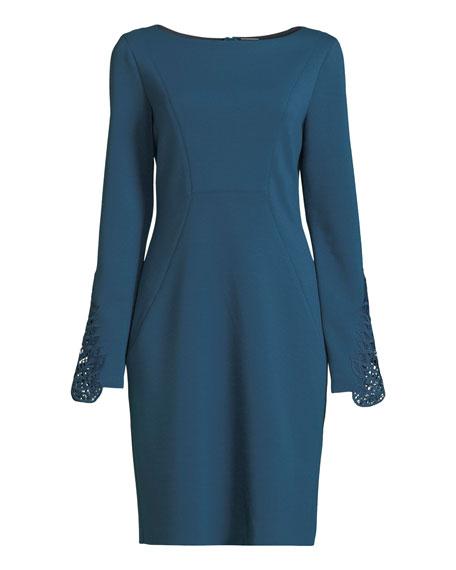 Azura Boat-Neck Long-Sleeve Ponte Sheath Dress w/ Lace Cuffs