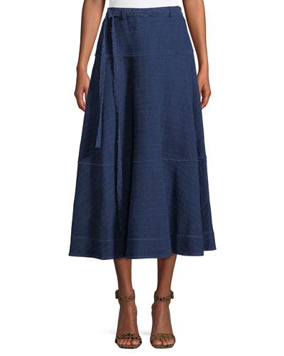 Leila Seamed Cotton Midi Skirt