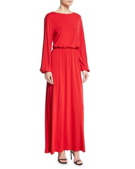 Evy Full-Sleeve Blouson Top A-Line Maxi Dress