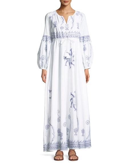 BARBARA SPLIT-NECK EMBROIDERED COTTON MAXI DRESS