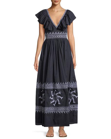 LE SIRENUSE FRIDA V-NECK SLEEVELESS A-LINE COTTON MAXI DRESS