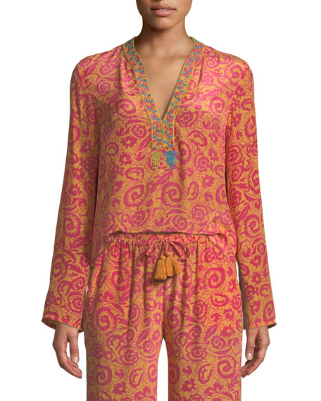 Annalisa V-Neck Long-Sleeve Paisley-Print Silk Crepe Tunic