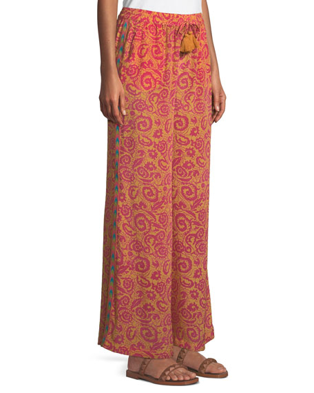 Sailor Paisley-Print Wide-Leg Pants w/ Tassel Ties