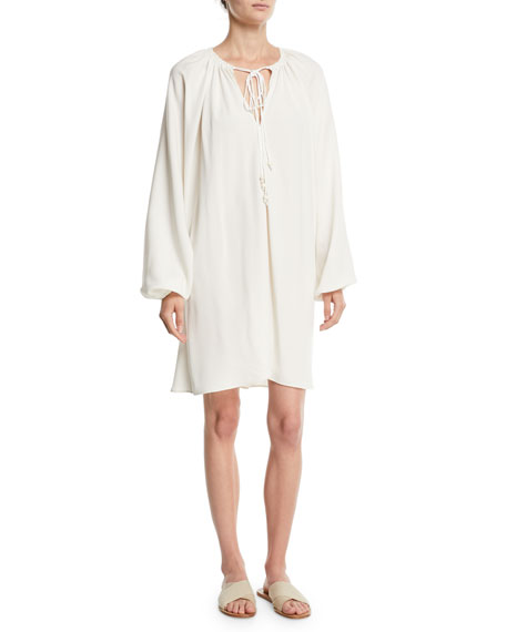 Jasmine V-Neck Full-Sleeve Crepe Shift Dress