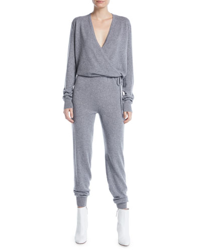 Norica Long-Sleeve Cashmere Jumpsuit