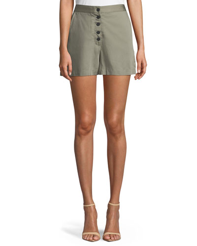 Cortlandt Alley Button-Front High-Waist Shorts