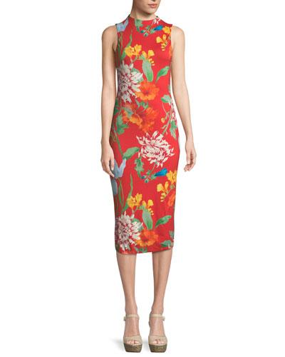 Delora Mock-Neck Fitted Sleeveless Sheath Dress