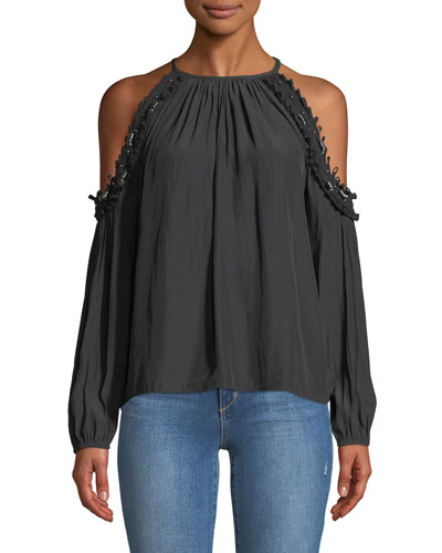 Anne Beaded Cold-Shoulder Blouse