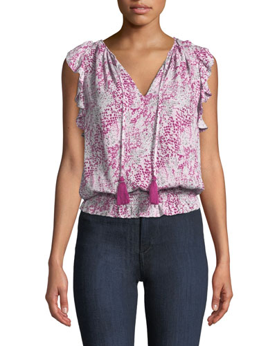 Donnie Printed Ruffle Blouson Top