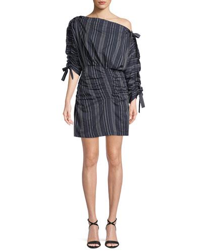 Sabra Striped One-Shoulder Ruched Mini Dress