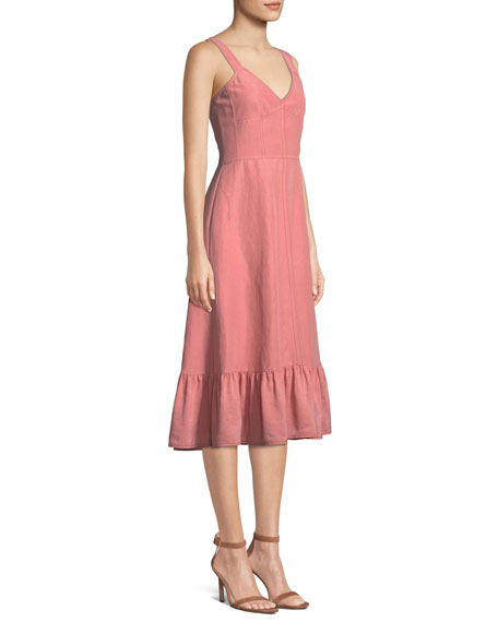 Sleeveless Lace-Up Cotton/Linen Slip Dress