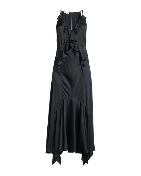 Silk Charmeuse Ruffle Slip Dress