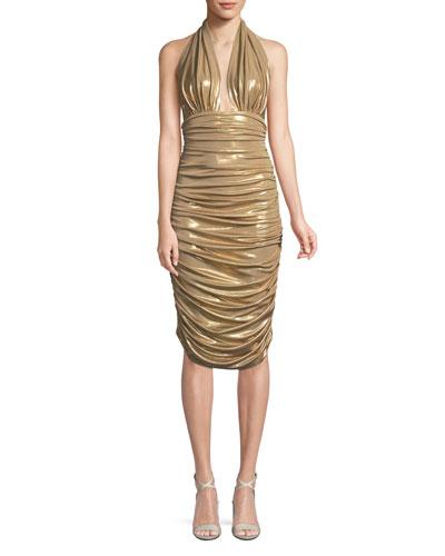 Metallic Halter Cocktail Dress w/ Ruching
