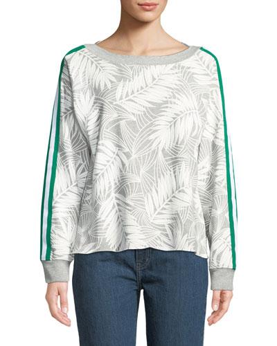 Breck Palm-Print Side-Stripe Crewneck Sweatshirt