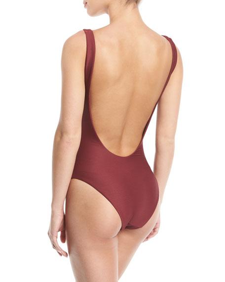 Bridget Lace-Up Textured One-Piece Swimsuit