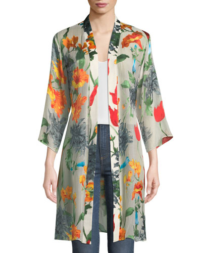 Maylin Belted Floral-Print Robe Jacket