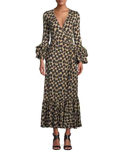Printed Ruffle-Sleeve Silk Wrap Dress