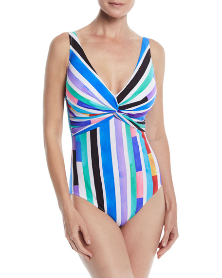 GOTTEX CARNIVAL V-NECK ONE-PIECE SWIMSUIT