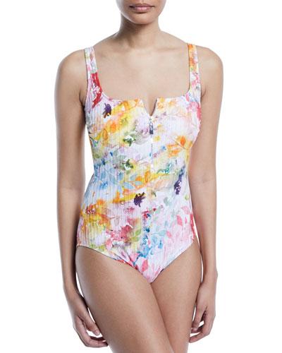 Aquarelle Square-Neck Partial-Zip Floral-Print Ribbed One-Piece Swimsuit