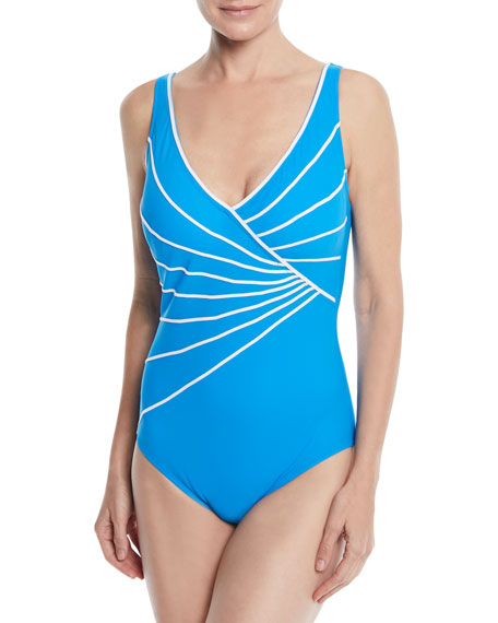 GOTTEX SINATRA PIPED CROSSOVER V-NECK ONE PIECE SWIMSUIT