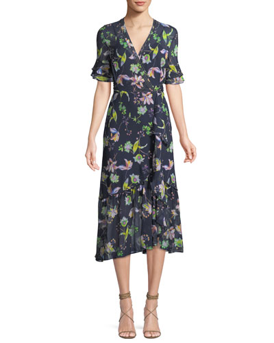 Blaire Floral-Print Silk Wrap Dress