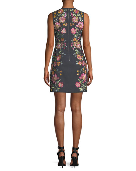 Nat Embroidered Cotton-Stretch Mini Cocktail Dress