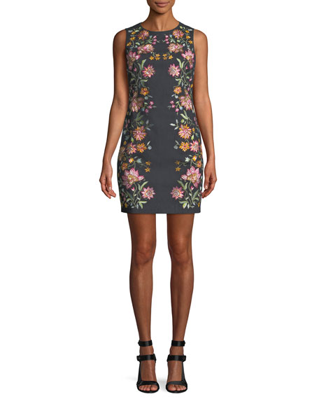 Alice + Olivia Nat Embroidered Cotton-Stretch Mini Cocktail
