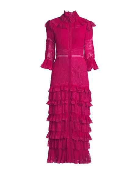 Carmina Pleated Lace Ruffle Midi Dress