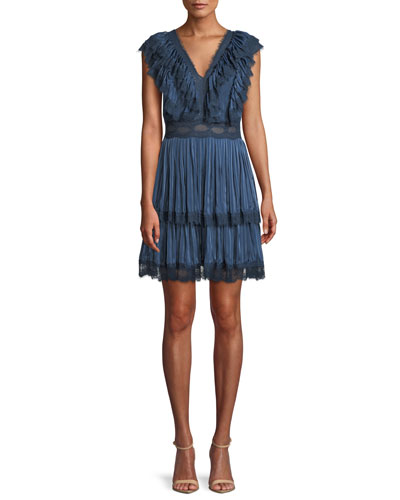 Lanora V-Neck Pleated Tiered  Dress
