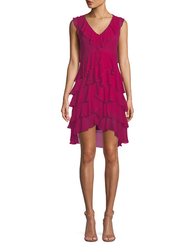 Felicita V-Neck Sleeveless Tiered Ruffled Silk Dress