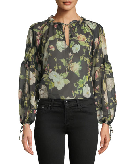 00822e35894bc3 Alice + Olivia Julius Floral Silk Blouson-Sleeve Tunic Top