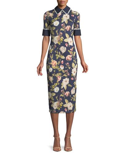 Delora Collared Floral-Print Sheath Dress