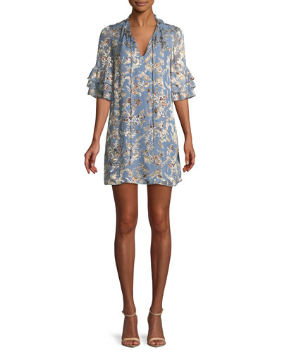 Julius Split-Neck Tiered-Sleeve Floral-Jacquard Tunic Dress