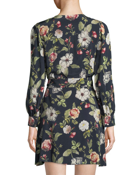 Hannah Long-Sleeve Floral Wrap Dress