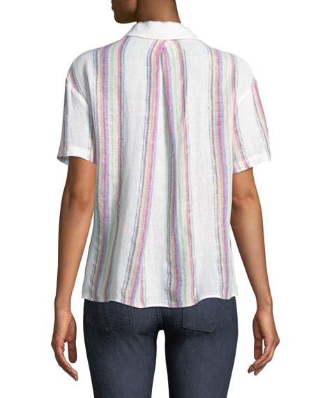 Zuma Striped Linen-Blend Button-Down Top
