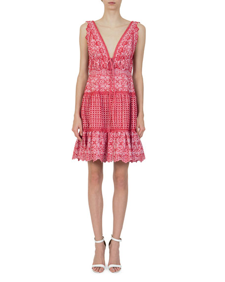 V-Neck Sleeveless Eyelet Embroidery Gathered Mini Dress, Red/White