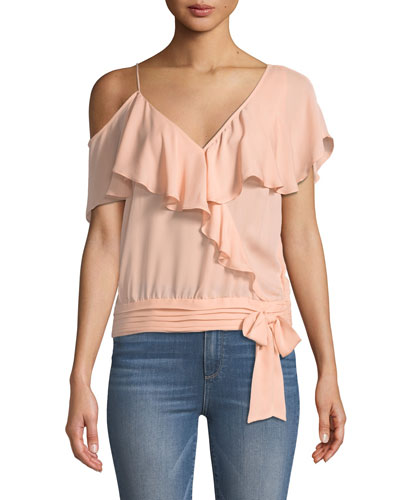 Chereen Ruffle One-Shoulder Silk Top