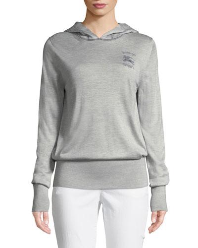Grassey Silk Colorblock Logo Pullover Hoodie Sweater