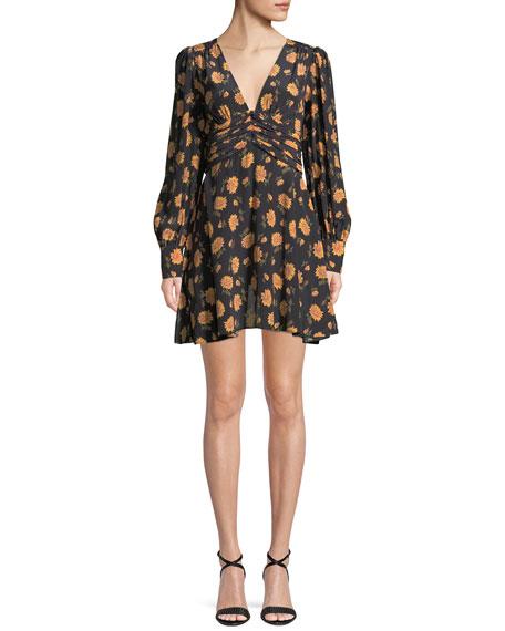 Marion Long-Sleeve Floral Mini Dress
