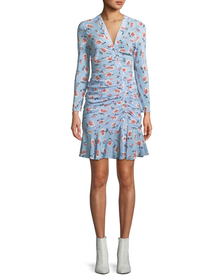 Image 1 of 1: Rowe Bracelet-Sleeve Ruched Asymmetric-Placket Floral-Print Silk Dress