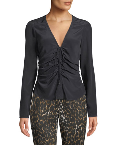 Maisle V-Neck Ruched-Front Long-Sleeve Silk Blouse