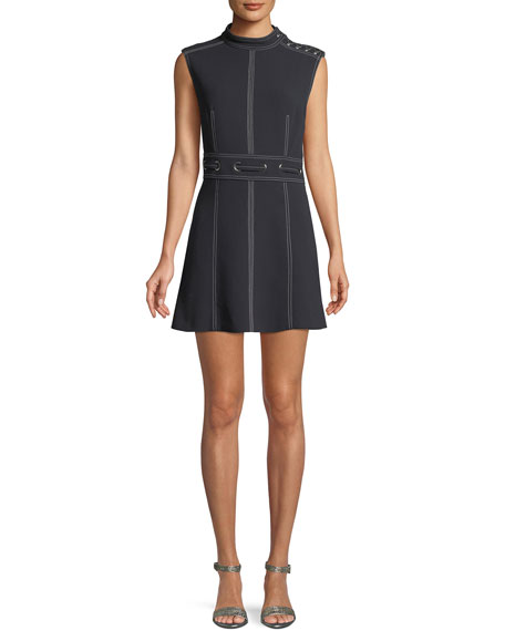 Nico Mock Neck Grommet Waist Dress by Veronica Beard