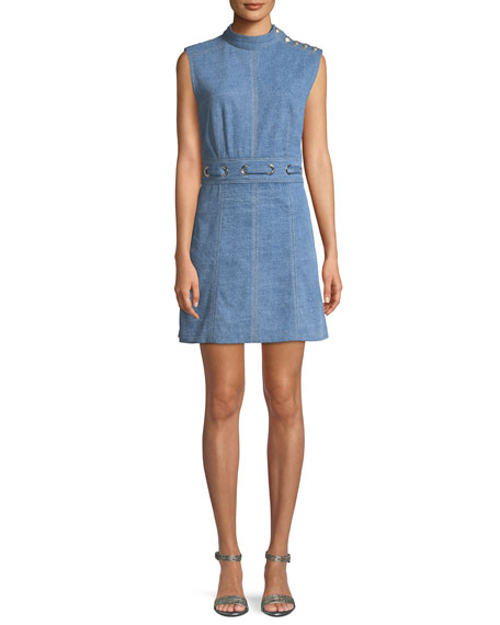 Nico Mock Neck Grommet Waist Chambray Dress by Veronica Beard