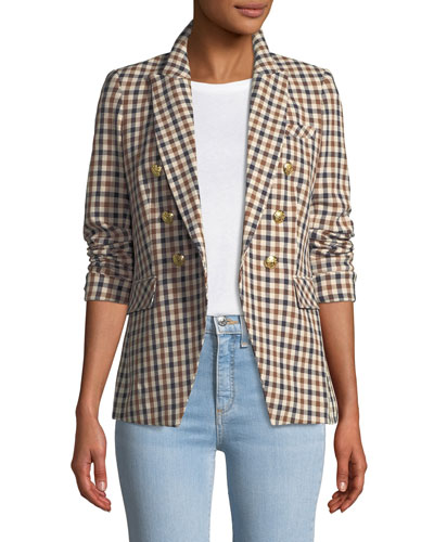 Lonny Double-Breasted Check Dickey Jacket