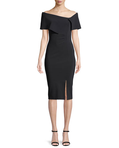 Egida Asymmetric Off-the-Shoulder Cocktail Dress