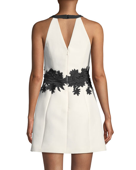 Halter Mini Dress w/ Floral Embroidery