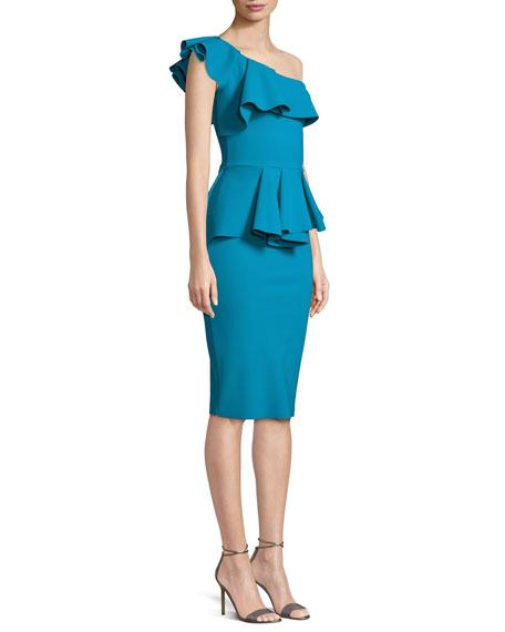 Chiara Boni La Petite Robe Mika One Shoulder Peplum Cocktail Dress