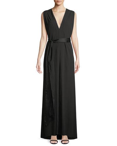Sleeveless Flowy Gown w/ Sash